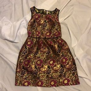 Floral dress with dark purple violet and gold 🌸🌺